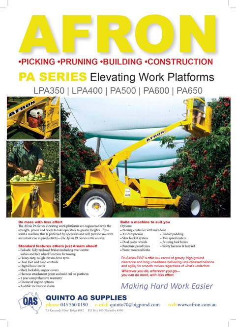 Advert promoting hydraulic platform