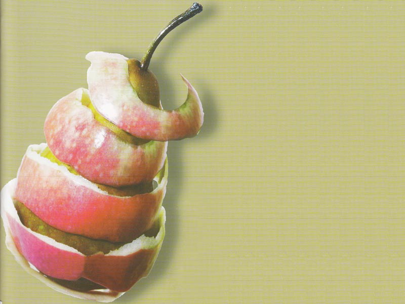 Pear wrapped in apple skin